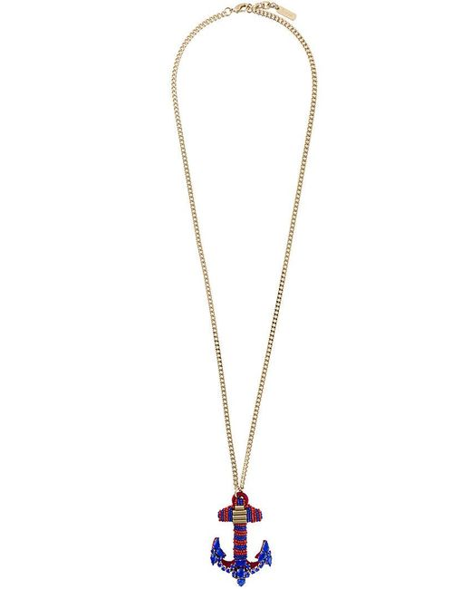 Rada' - Blue Anchor Pendant Elongated Necklace - Lyst