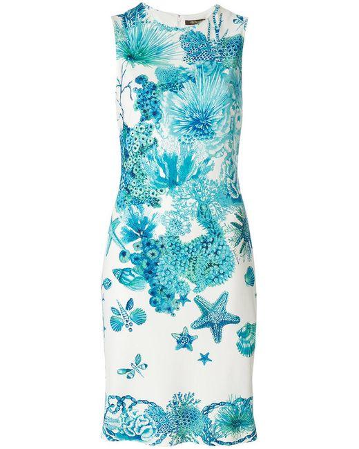 Roberto Cavalli | Blue Fitted Sea Creature Dress | Lyst