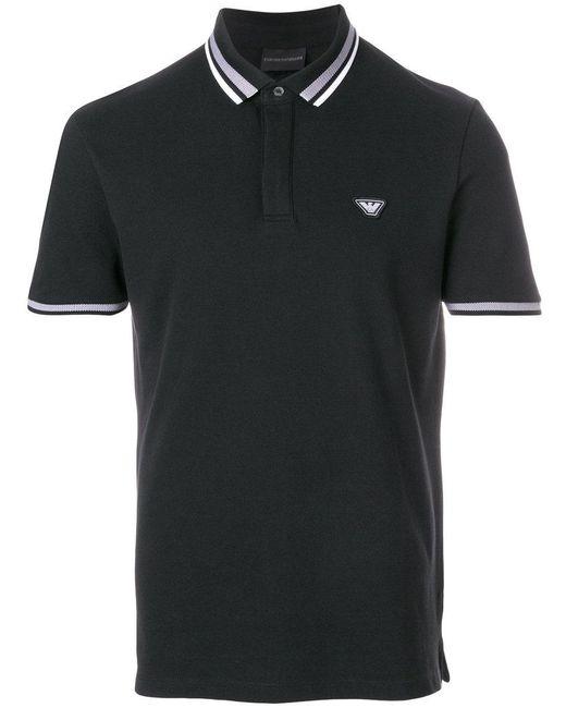 Emporio Armani | Black Cotton Polo for Men | Lyst