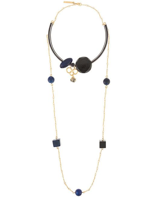 Marni - Metallic Geometric Shapes Double Necklace - Lyst