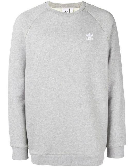 f217cb47dbf92 Adidas - Gray Essential Sweatshirt for Men - Lyst ...