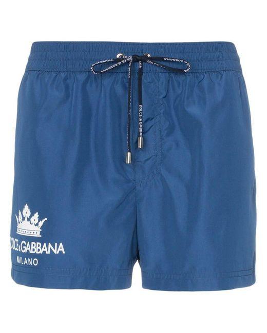 9fe8a10003 Dolce & Gabbana - Blue Crown Logo Swimming Trunks for Men - Lyst ...