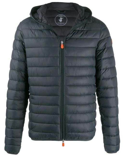 Save The Duck Green Quilted Zip-front Coat for men