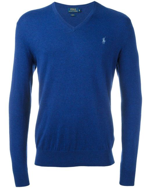 Polo Ralph Lauren | Blue Embroidered Logo Jumper for Men | Lyst