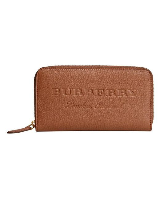 Burberry - Brown Embossed Ziparound Wallet - Lyst