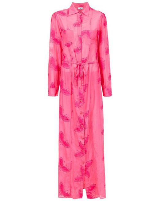 Amir Slama - Pink Embroidered Silk Beach Dress - Lyst