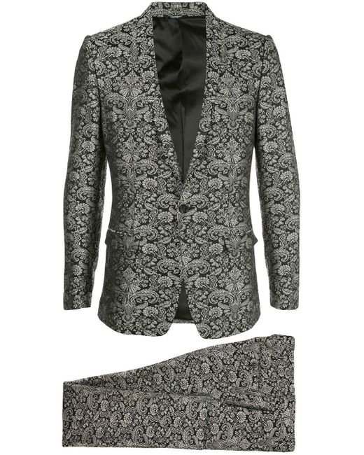 Dolce & Gabbana Black Floral Jacquard Evening Suit for men
