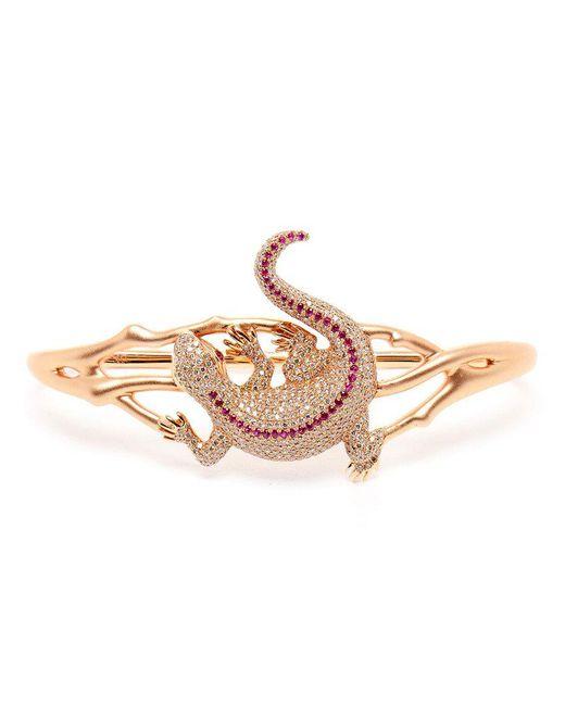 Gaydamak - Pink Diamond And Ruby Salamander Hand Bracelet - Lyst