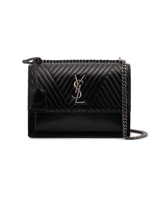 4b0f212629ab Saint Laurent Black Sunset Monogram Bag in Black - Lyst