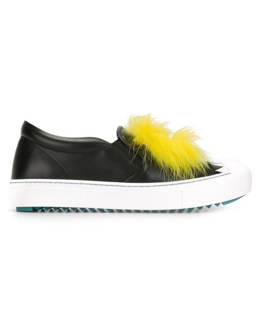5a04c1b91636 Fendi Bugs Genuine Fox Fur And Leather Sneakers in Black - Save 61 ...