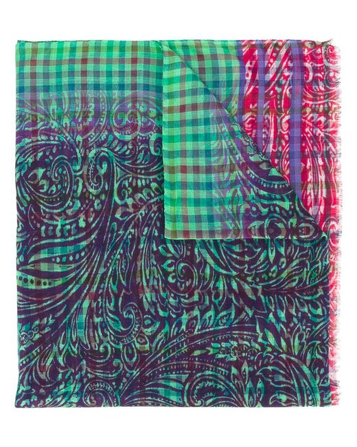 Etro | Green Checked Scarf for Men | Lyst
