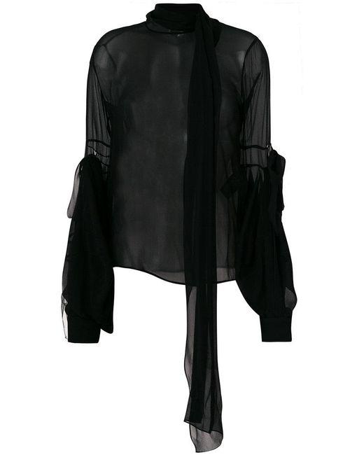 Saint Laurent - Black Sheer Bell-sleeve Blouse - Lyst