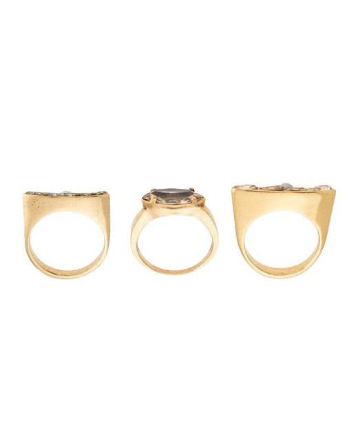Camila Klein - Metallic Gold Plated Three Rings Set - Lyst
