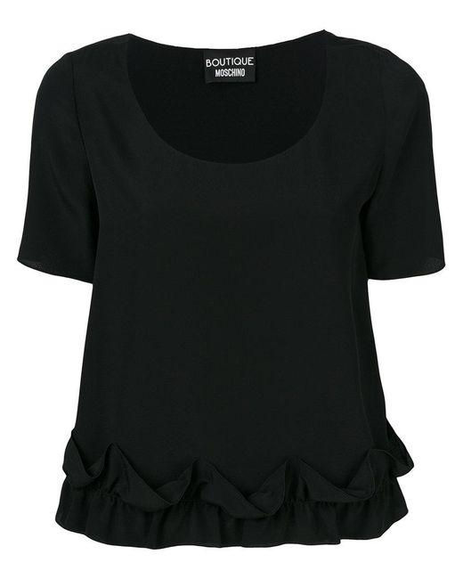 Boutique Moschino   Black Frilled Hem Shortsleeved Blouse   Lyst
