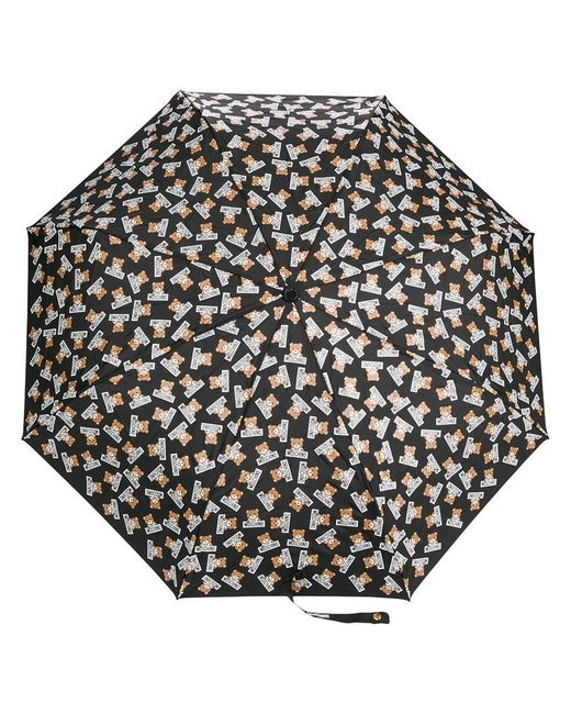 Moschino - Black Teddybear Logo Printed Umbrella - Lyst
