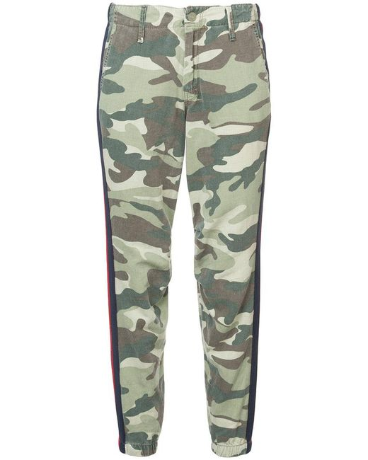 Mother - Green No Zip Misfit Striped Camouflage-print Cotton-blend Track Pants - Lyst