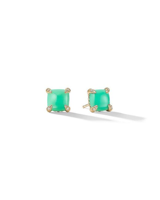 David Yurman - Green 18kt Yellow Gold Châtelaine Chrysoprase And Diamond Stud Earrings - Lyst