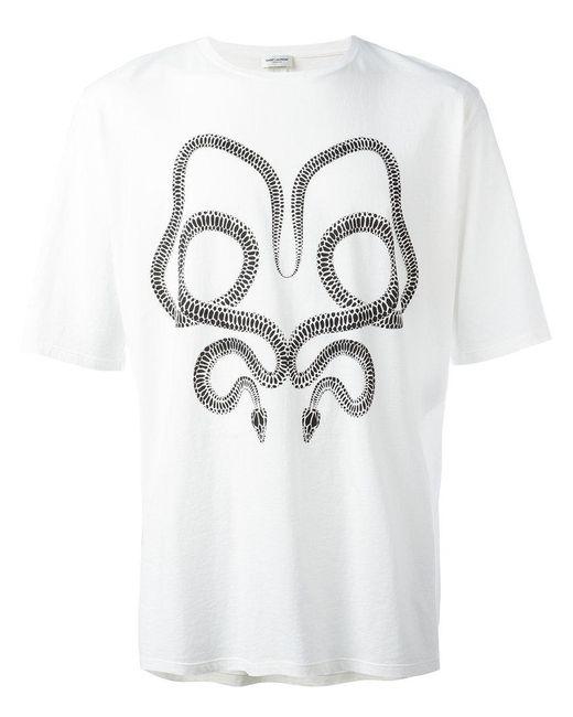 Lyst saint laurent snake print t shirt in white for men for Saint laurent t shirt