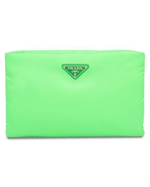 Prada - Fluorescent Green Medium Padded Nylon Clutch - Lyst