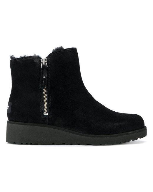 Ugg - Black Zipped Short Boots - Lyst