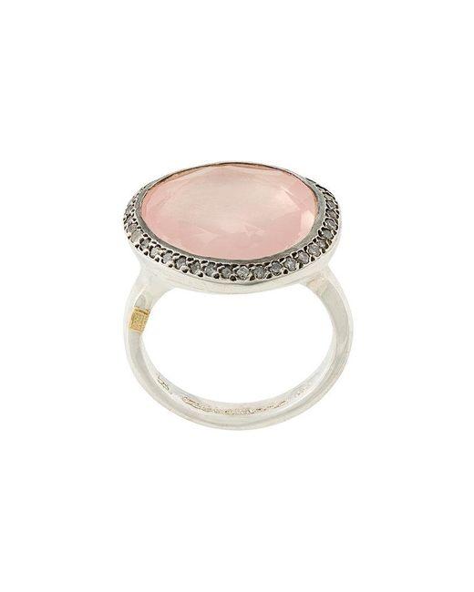 Rosa Maria - Metallic Pink Quartz And Diamond Cocktail Ring - Lyst