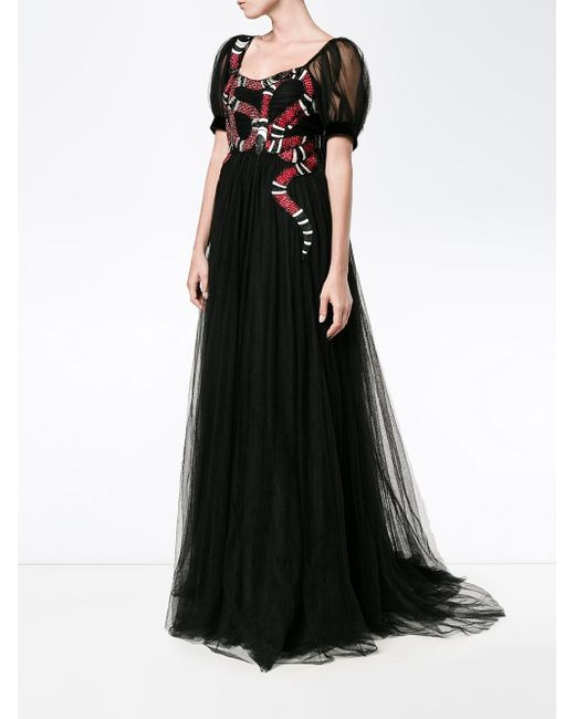 6799a8e96 ... Gucci - Black Snake Embroidered Tulle Gown - Lyst ...