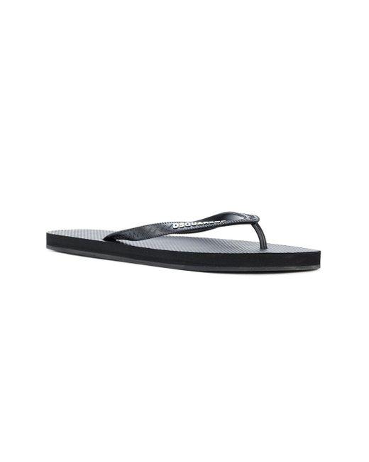 084e959f4 Lyst - DSquared² Logo Flip Flops in Black for Men - Save 38%