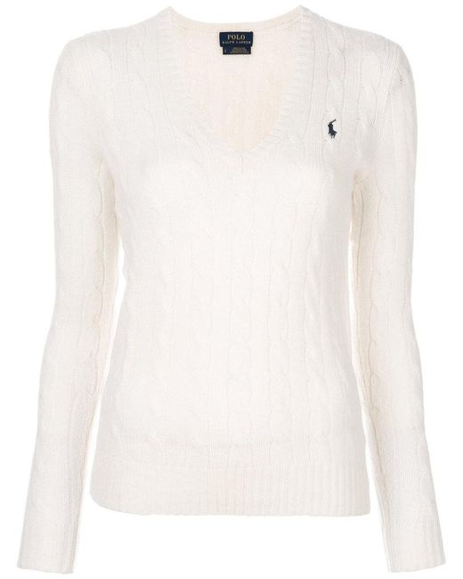 Polo Ralph Lauren | White Cable Knit Jumper | Lyst
