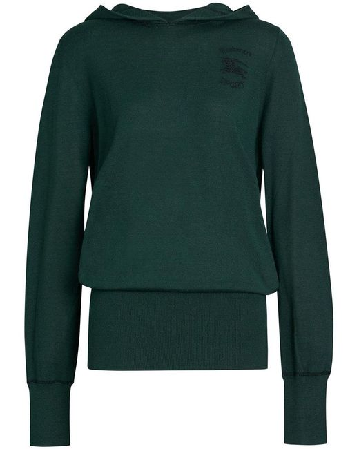 Burberry - Green Embroidered Silk Cashmere Hoodie - Lyst