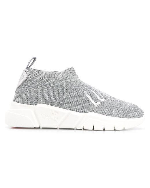 Love Moschino - Gray Love Sock Sneakers - Lyst