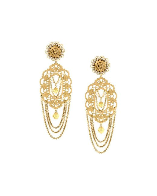 Dolce & Gabbana | Metallic Filigree Statement Clip-on Earrings | Lyst