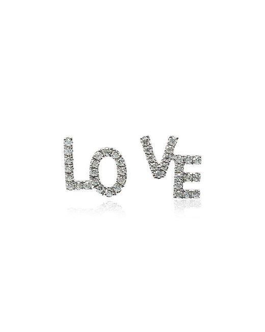 Rosa De La Cruz - Metallic White Gold And Diamond Love Studs - Lyst