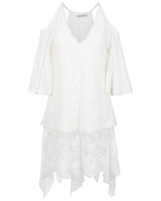 Martha Medeiros - White Cold Shoulders Lace Blouse - Lyst