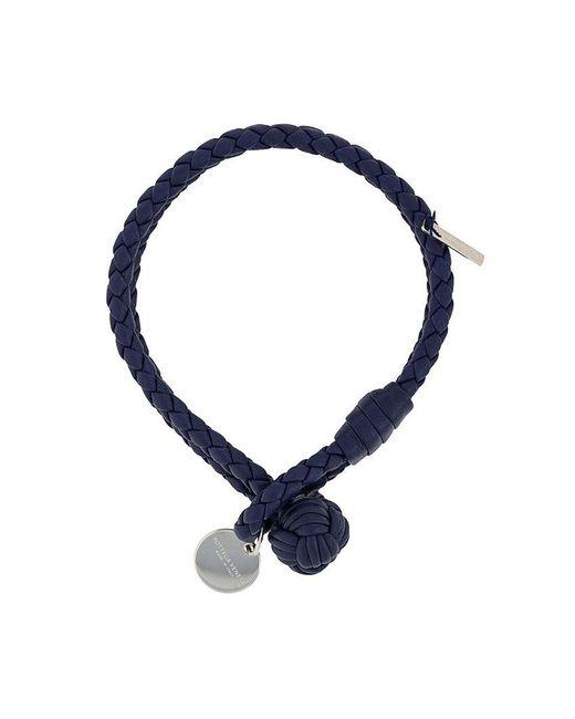 Bottega Veneta - Blue Intrecciato Woven Bracelet - Lyst