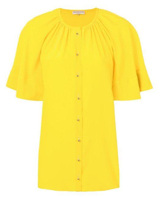 Emilio Pucci - Yellow Top con pliegues - Lyst
