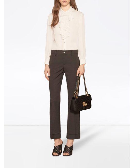 e44fe8a1970d ... Gucci - Black GG Marmont Small Matelassé Leather Shoulder Bag - Lyst ...