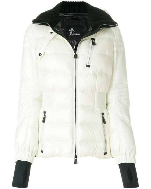 moncler grenoble ribbed trims padded jacket in white lyst. Black Bedroom Furniture Sets. Home Design Ideas