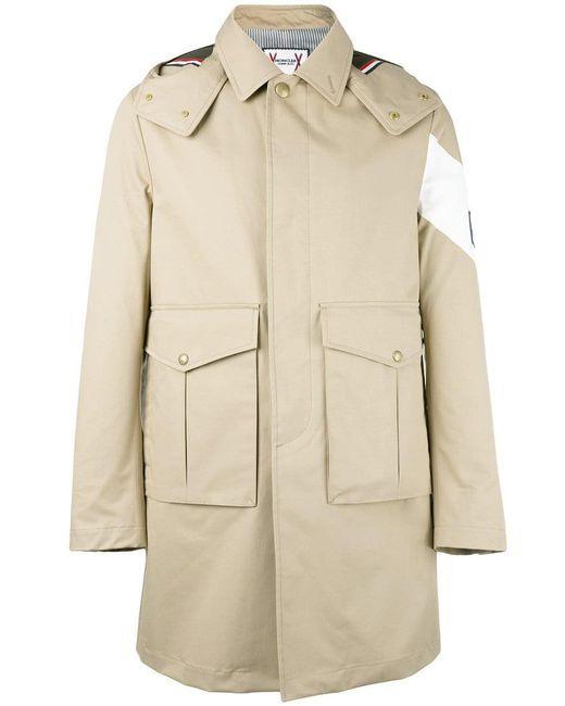 Moncler - Natural Single Breasted Coat for Men - Lyst