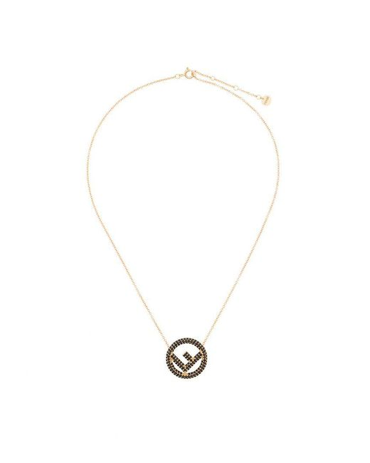 Fendi - Metallic Crystal Logo Pendant Necklace - Lyst