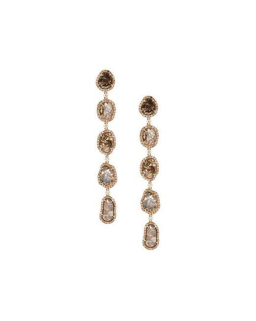 Saqqara | Metallic Long Sliced Diamond Drop Earrings | Lyst