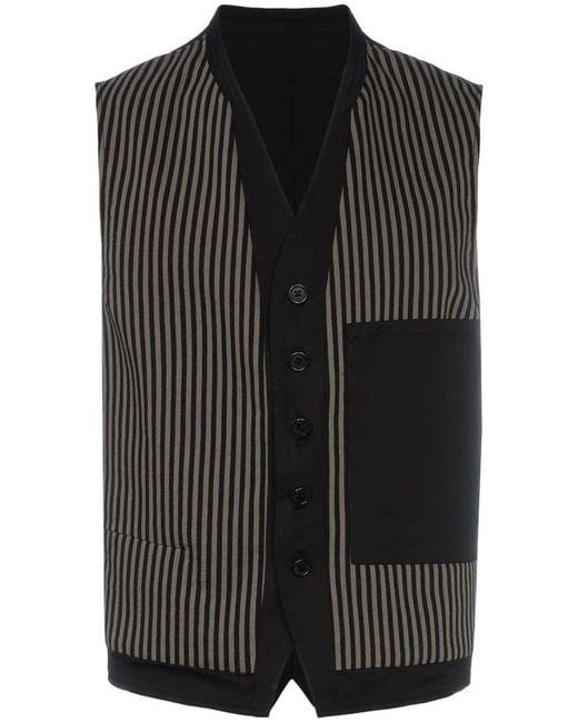 Ann Demeulemeester - Black Stripe Pattern And Button Detail Cotton-blend Waistcoat for Men - Lyst