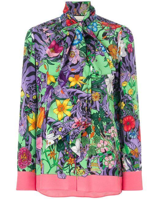 Gucci - Multicolor Flora Tiger Print Blouse - Lyst