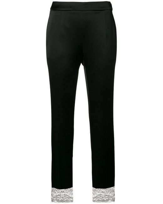 Lanvin - Black Lace Hem Trousers - Lyst