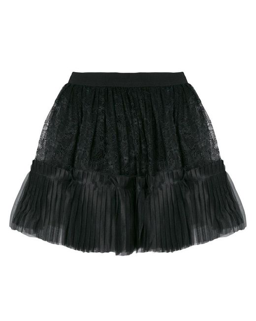 Amen - Black Full Lace Pleated Skirt - Lyst