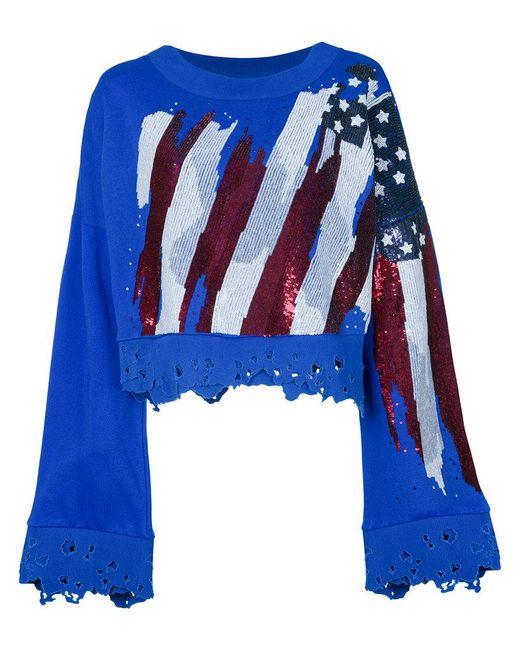 Amen - Blue Distressed Beaded Cropped Sweatshirt - Lyst