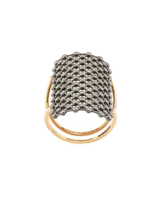 Diane Kordas - Metallic Crystal Embellished Net Pattern Ring - Lyst