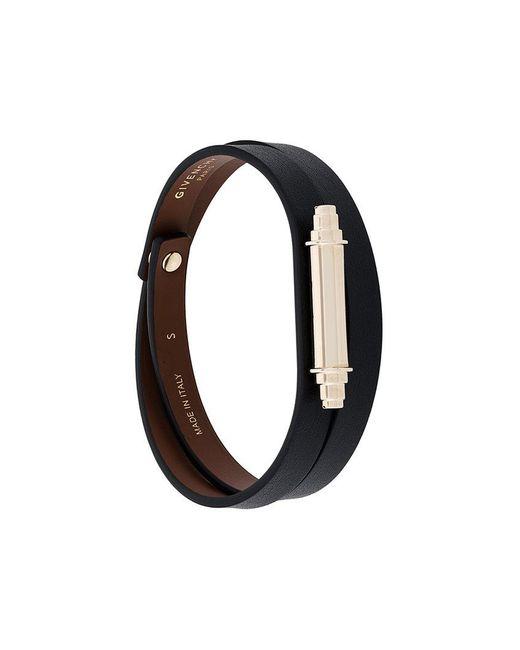 Givenchy - Black Metallic Bar Wrap Bracelet - Lyst