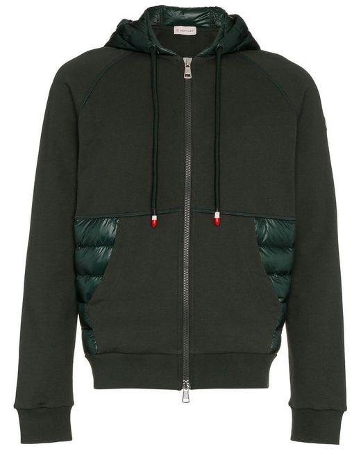 Moncler - Green Kapuzenjacke mit Dauneneinsätzen for Men - Lyst