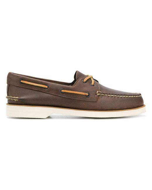 Sperry Top-Sider - Brown Contrast Stitched Boat Shoes for Men - Lyst