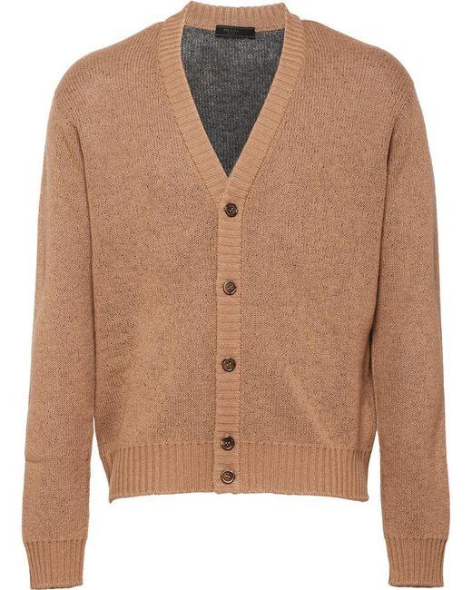 Prada - Brown V-neck Cardigan for Men - Lyst